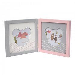 Altom Drevený rámček na 2 fotografie Medvedík, ružová