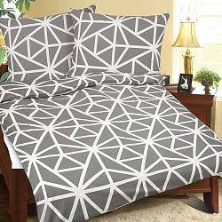 Bellatex Bavlnené obliečky Geometria sivo-biela, 140 x 220 cm, 70 x 90 cm