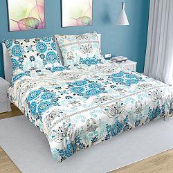 Bellatex Bavlnené obliečky Ornament tyrkysová, 220 x 200 cm, 2 ks 70 x 90 cm