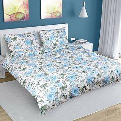 Bellatex Bavlnené obliečky Ruže modrá, 180 x 200 cm, 50 x 70 cm