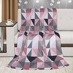 Bellatex Deka Kemping Plus Trojuholníky ružová, 150 x 200 cm
