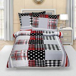 Bellatex Krepové obliečky Patchwork červeno-sivá, 140 x 220 cm, 70 x 90 cm, 140 x 220 cm, 70 x 90 cm