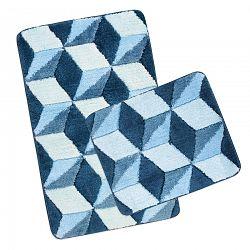 Bellatex Sada kúpeľňových predložiek Ultra Modrá kocky,60 x 100 cm, 60 x 50 cm