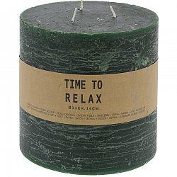 Dekoratívna sviečka Time to relax zelená, 14 cm