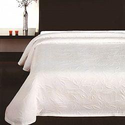 Forbyt Prehoz na posteľ Floral biela, 140 x 220 cm