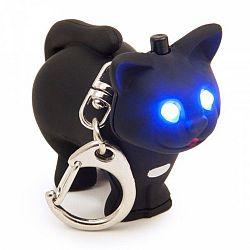 LED kľúčenka Mačička, čierna