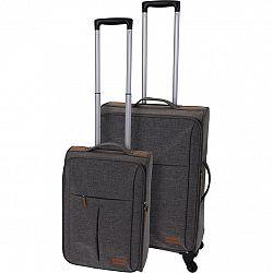 Sada textilných kufrov na kolieskach 2 ks, svetlosivá
