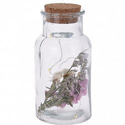 Sklenená dekoratívna fľaša Cork ružová, 7 x 14 cm