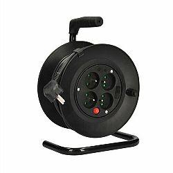 Solight PB22 4z prodlužovací přívod - na bubnu, 15m, černý kabel 3x 1,0mm2