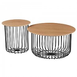 Tempo Kondela, s.r.o. Set dvou konferenčních stolků, dub/černá, GROTO