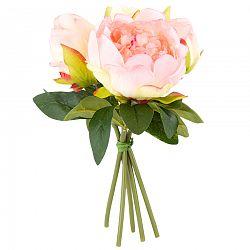Umelá kvetina zväzok Pivonky svetloružová, 24 cm